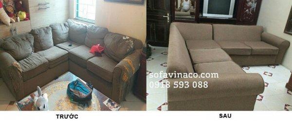 Công trình bọc ghế và thay ruột đệm sofa tại Hoàng Quốc Việt, Cầu Giấy