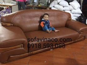 Bộ ghế sofa da sau khi được bọc lại