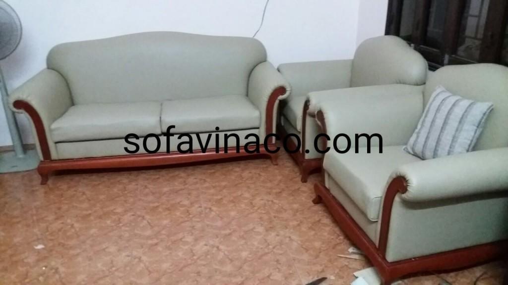 Bộ ghế sofa sau khi được bọc lại bằng chất liệu da