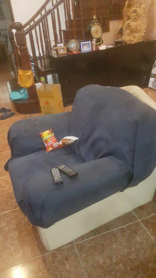 Chiếc ghế đơn cũng được phủ vải như chiếc sofa dài