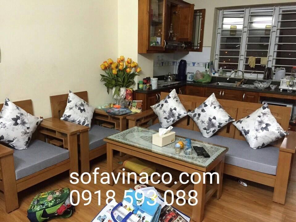Đệm ghế gỗ phòng khách màu ghi tham khảo