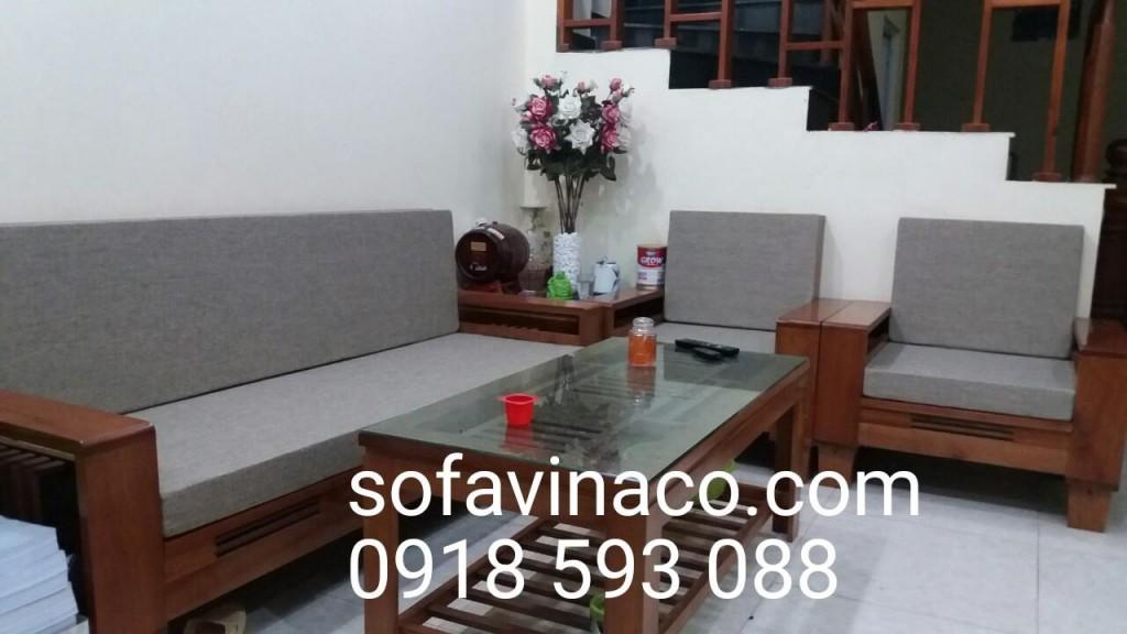 Đệm ghế gỗ phòng khách màu ghi