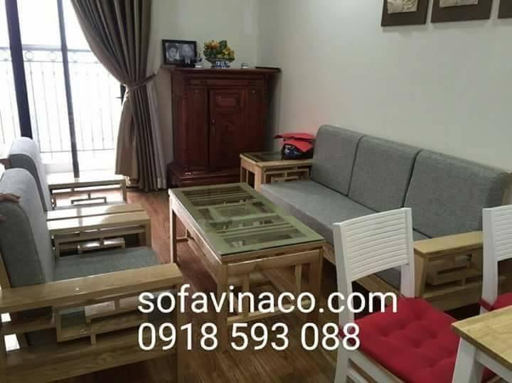 Bộ đệm ghế sofa gỗ màu ghi có tựa vót cong