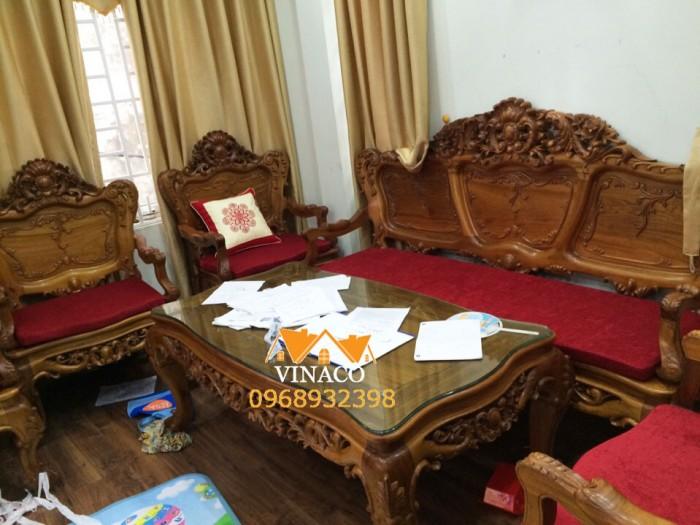 Bộ đệm ghế gỗ của Vinaco cho nhà anh Thịnh