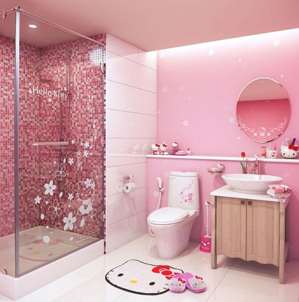 Phong cách phòng tắm Hello Kitty đáng yêu