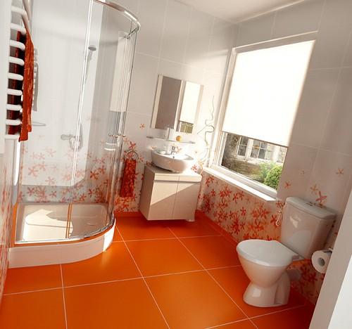 Tuy hơi rực rỡ nhưng màu cam cũng là màu khá hợp để thiết kế phòng tắm
