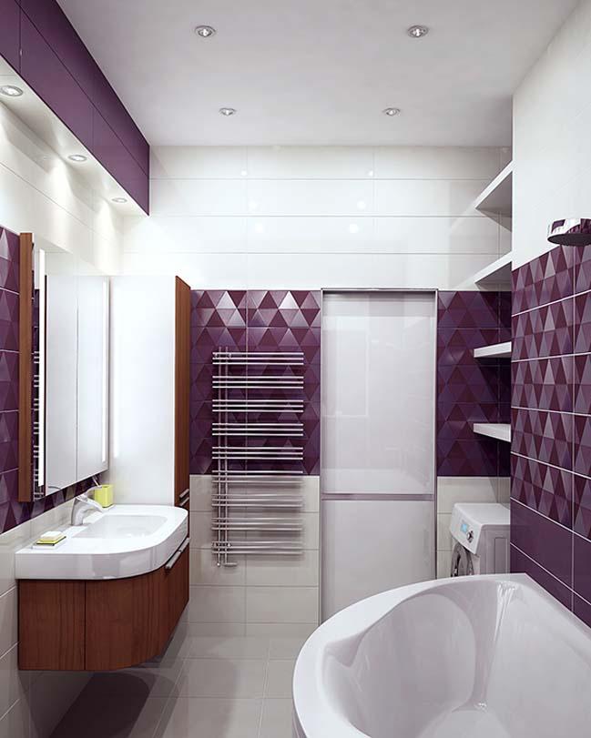 Sự kết hợp của tím đậm và trắng sẽ làm tăng sự quyến rũ cho phòng tắm nhà bạn