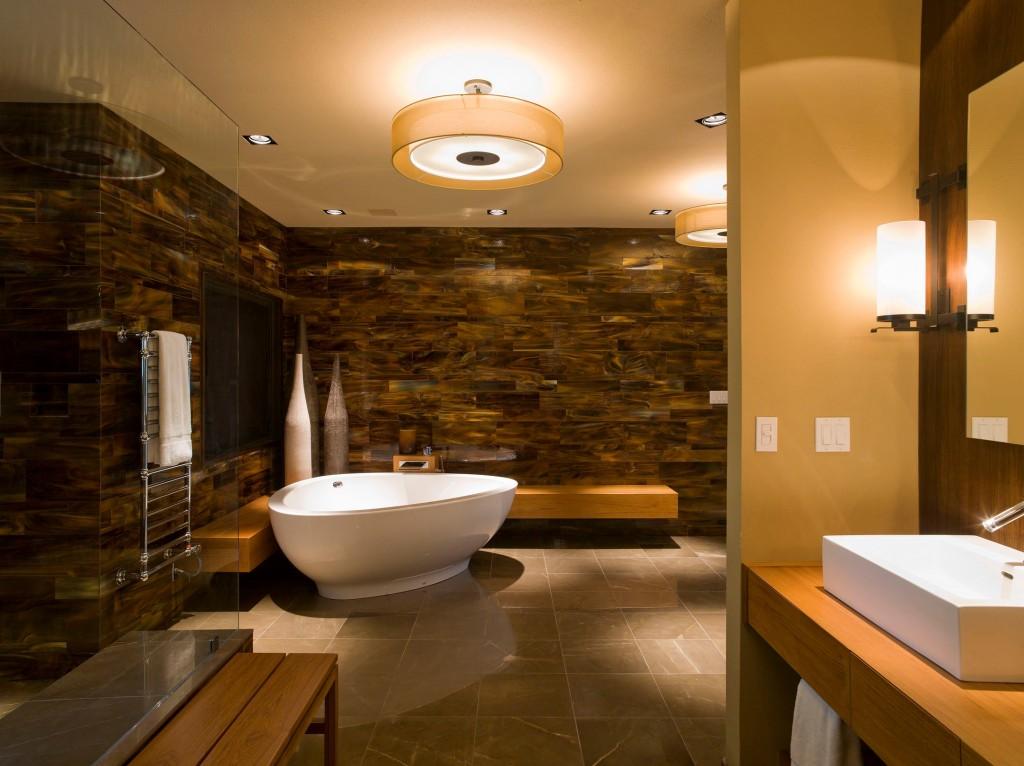 Thiết kế phòng tắm màu nâu đất mộc mạc