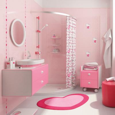 Phòng tắm thiết kế màu hồng với buồng tắm đứng