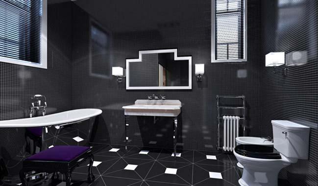 Tạo cảm giác thần bí với phòng tắm màu đen