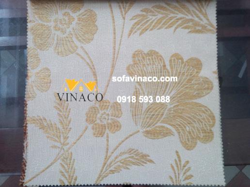Mẫu vải thô thêu hoa lá màu vàng kim kiểu hiện đại