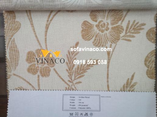 Mẫu vải thô thêu hoa lá màu nâu kiểu hiện đại