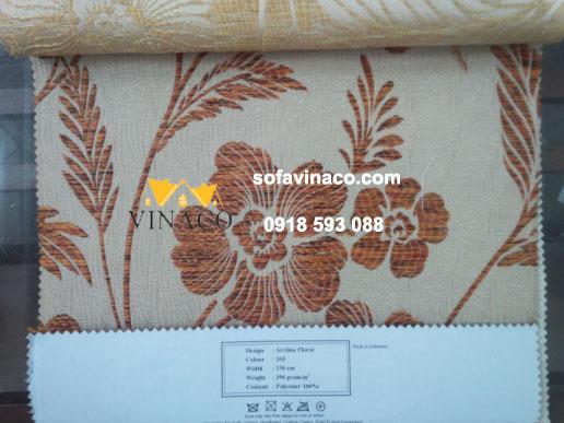 Mẫu vải thô thêu hoa lá màu nâu đỏ kiểu hiện đại