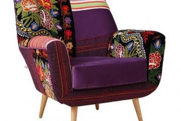 Bọc lại ghế sofa với vải có hoa văn, họa tiết thổ cẩm
