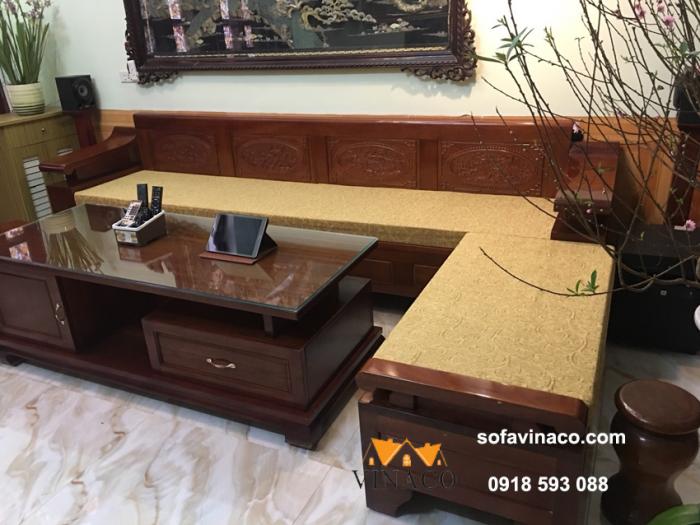 Bộ đệm ghế sofa gỗ cho nhà anh Hùng ở Quảng Ninh