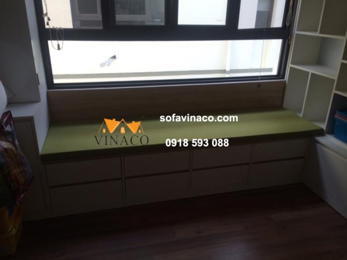 Đệm ngồi bậu cửa sổ đẹp với màu xanh lá