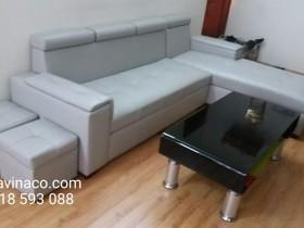 Bọc ghế sofa bằng vải thô màu ghi sáng