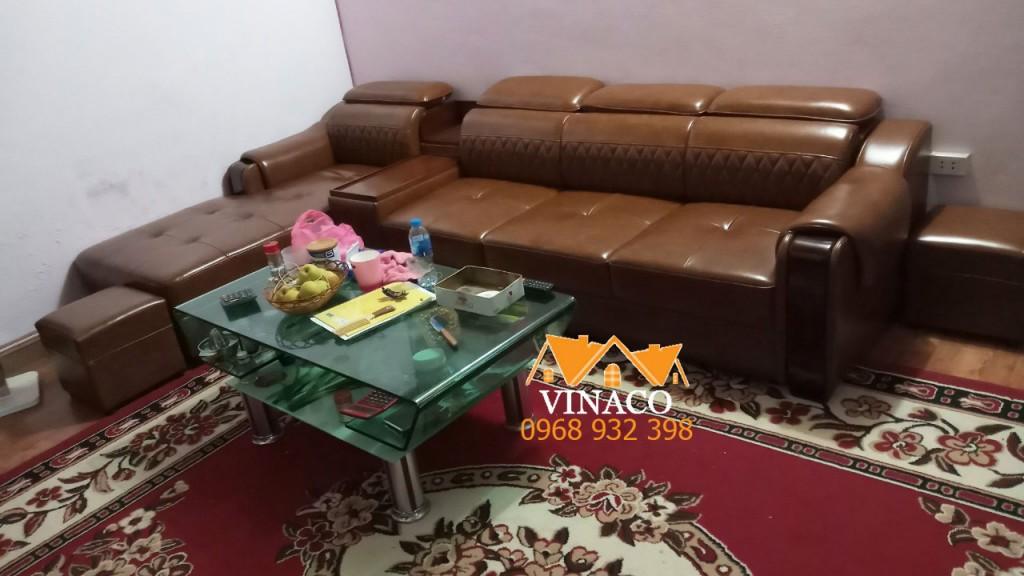 Bộ ghế sofa da đã được giao đến nhà khách hàng tại Tân Lập