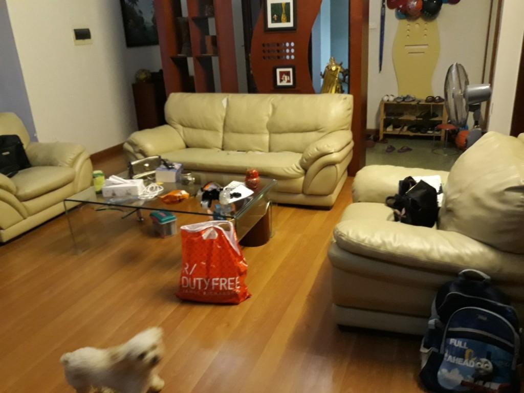 Bộ ghế sofa cũ nhà anh Hải đã bị xẹp đệm và nhão hết lớp vỏ ngoài