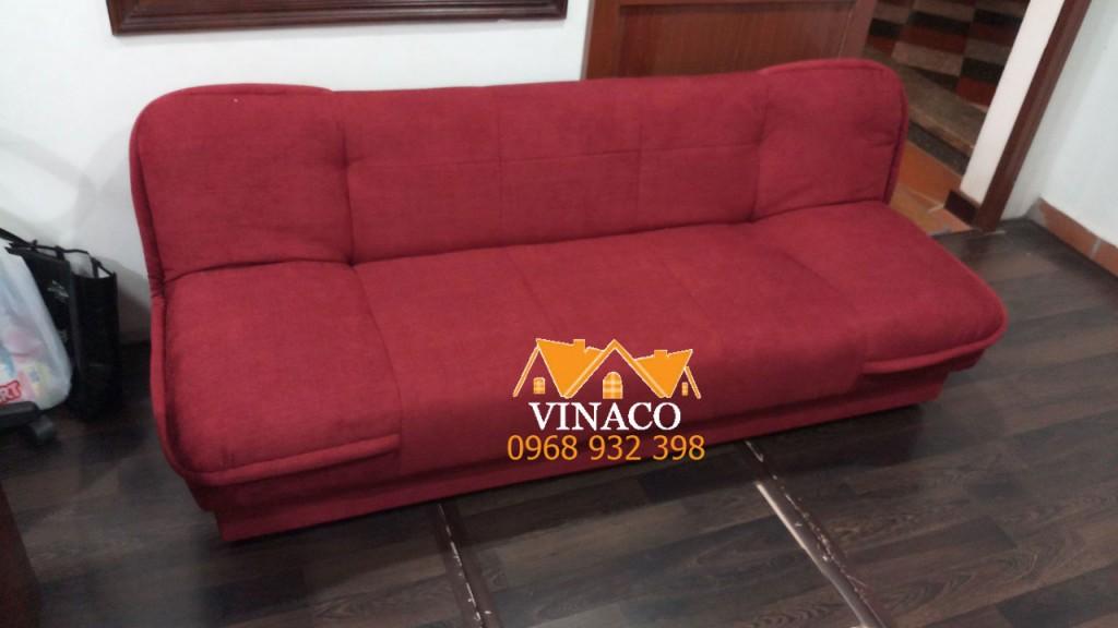 Bọc ghế sofa giường bằng vải thô màu đỏ đô