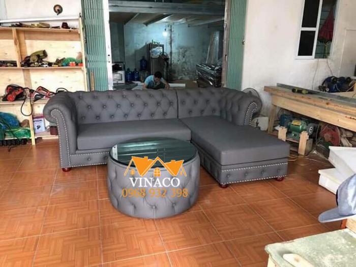 Bộ ghế sofa góc mang kiểu sáng tân cổ điển đã được hoàn thành