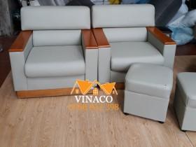 Bọc ghế sofa với chất liệu giả da màu ghi xám
