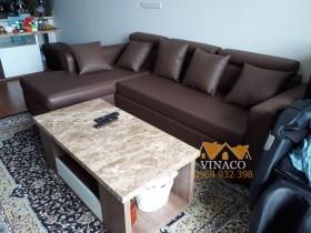 Bộ ghế sofa đã được bọc lại bằng mẫu da mới màu socola