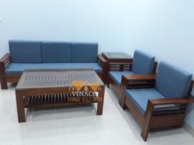 Bộ đệm ghế đã hoàn thành cho gia đình ở Quang Trung với tông màu xanh dương đậm