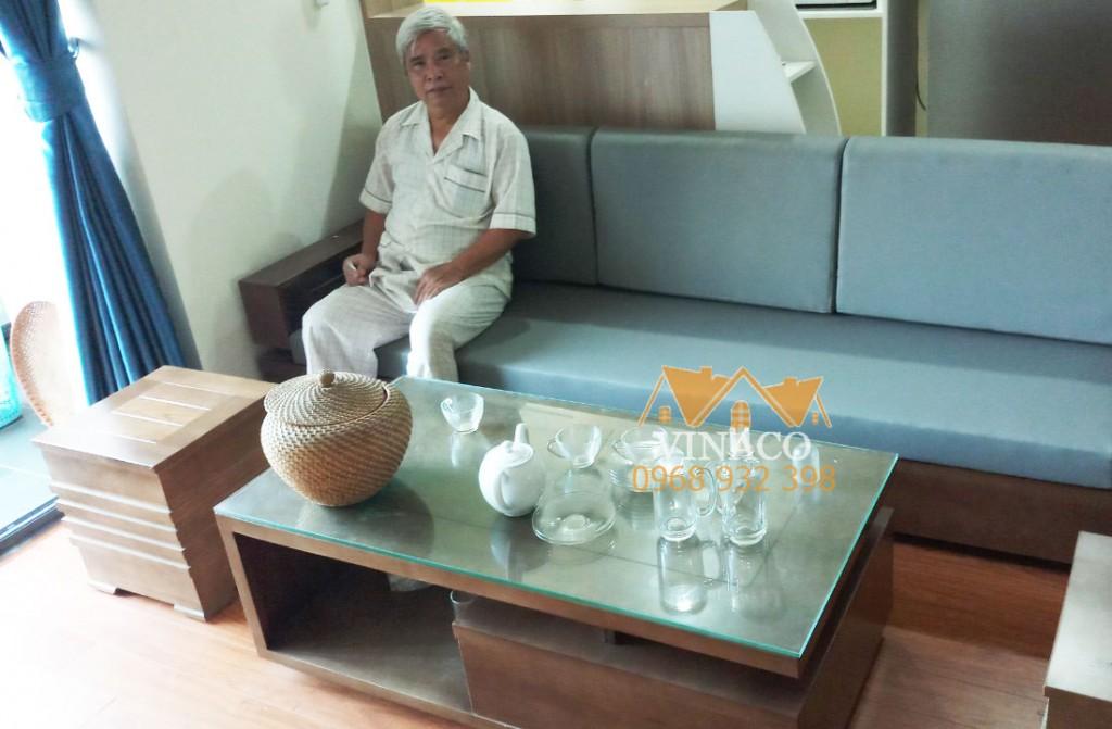 Bộ đệm ghế da màu xanh nhạt đã giao cho chị Hà tại chung cư An Bình 1