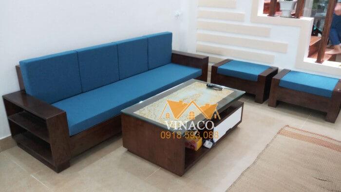 Làm đệm ghế sofa gỗ kiểu hiện đại