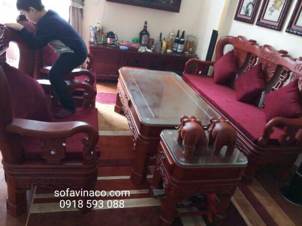 Đệm ghế cùng gối tựa thuần màu đỏ