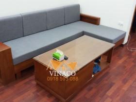 Bộ đệm ghế sofa gỗ L có màu ghi sang đã hoàn thành cho gia đình ở Tây Hồ