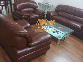 Bộ ghế sofa sau khi được bọc lại bằng da công nghiệp