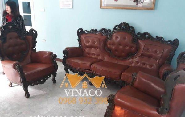 Cả bọc ghế đã được làm mới sau khi dùng dịch vụ bọc ghế sofa cổ điển của Vinaco