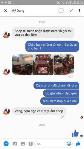 Feedback của chị Dung sau khi nhận được bộ đệm ghế