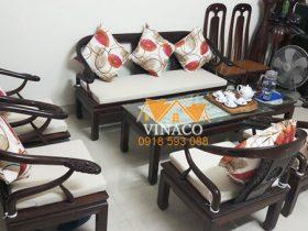 Bộ đệm ghế bông ép 5cm cho gia đình chị Ngọc ở Vạn Phúc Hà Đông