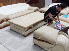 Công trình bọc đệm ngồi ghế sofa da đã hoàn thành ở Mộ Lao, Hà Đông