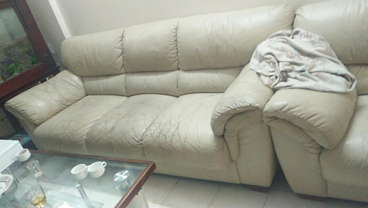 Bộ ghế sofa da thật của anh Hồi đã bị nứt nẻ bạc màu khi chưa sử dụng được lâu