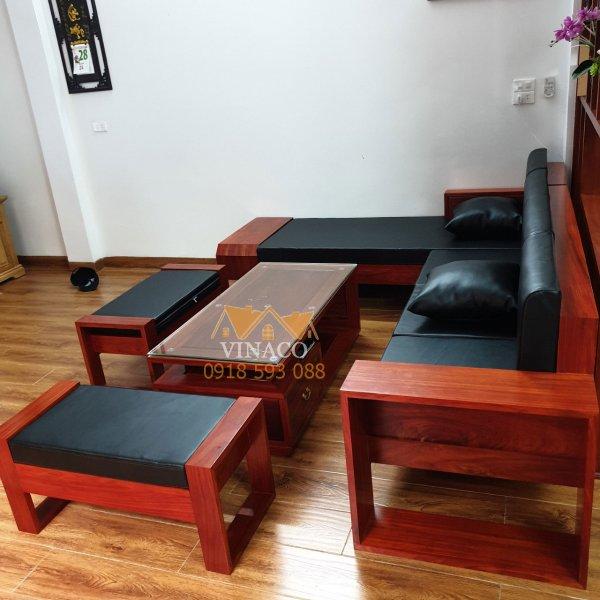Bộ đệm ghế da màu đen đã được giao và lắp đặt cho gia đình ở Phan Chu Trinh, Hoàn Kiếm