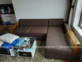 Bộ ghế sofa góc đã được bọc lại với vỏ mới màu sắc mới