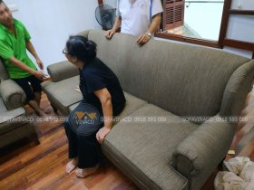 Dịch vụ bọc ghế sofa của Vinaco đã hoàn thành xuất sắc cồn trình bọc ghế tại Đặng Thai Mai cho cô Liên