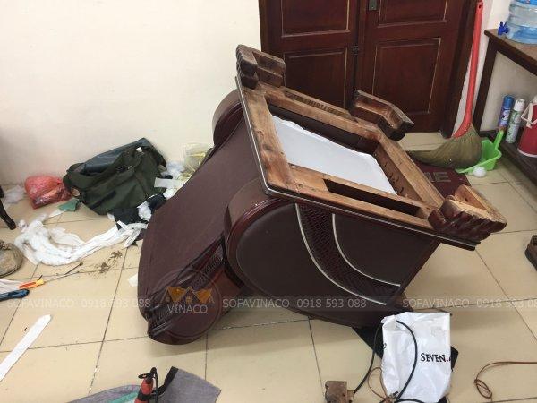 Quá trình bọc ghế sofa của Vinaco tại Đại học Kỹ thuật - Hậu cần CAND Thuận Thành, Bắc Ninh