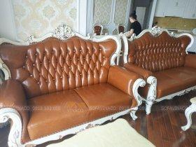 Bộ ghế sofa tân cổ điển đã được bọc lại với vẻ ngoài hoàn toàn thay đổi