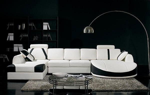 Ghế sofa màu đen trắng đan xen rất hiện đại và sang trọng
