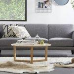 Ghế sofa vải nỉ với hoạ tiết đơn giản phù hợp với phòng khách nhà ống