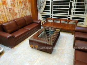 Bọc bàn ghế sofa với chất da công nghiệp màu nâu mới