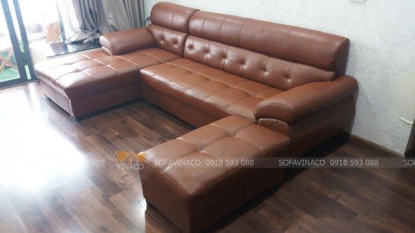 Dịch vụ bọc ghế sofa da của Vinaco đã hoàn tất công việc thay da mới cho bộ ghế tại Văn Quán, Hà Đông