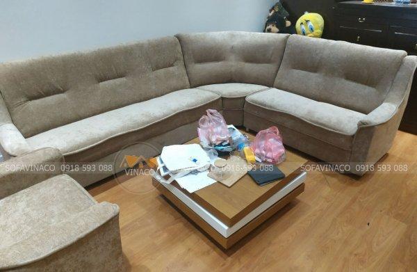Công trình bọc ghế sofa vải nhung ở Trần cung đã được hoàn thành