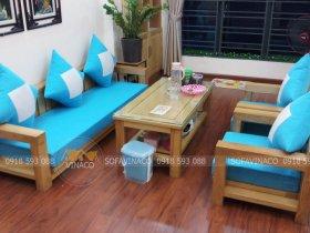 Bộ đệm ghế màu xanh rất đẹp kết hợp với gồi may trám trắng