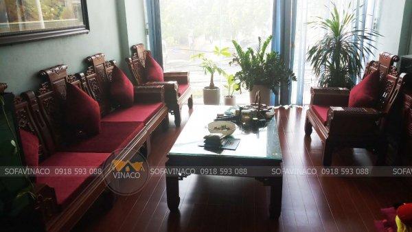 Đệm ghế Tần Thủy Hoàng màu đỏ vải nhung